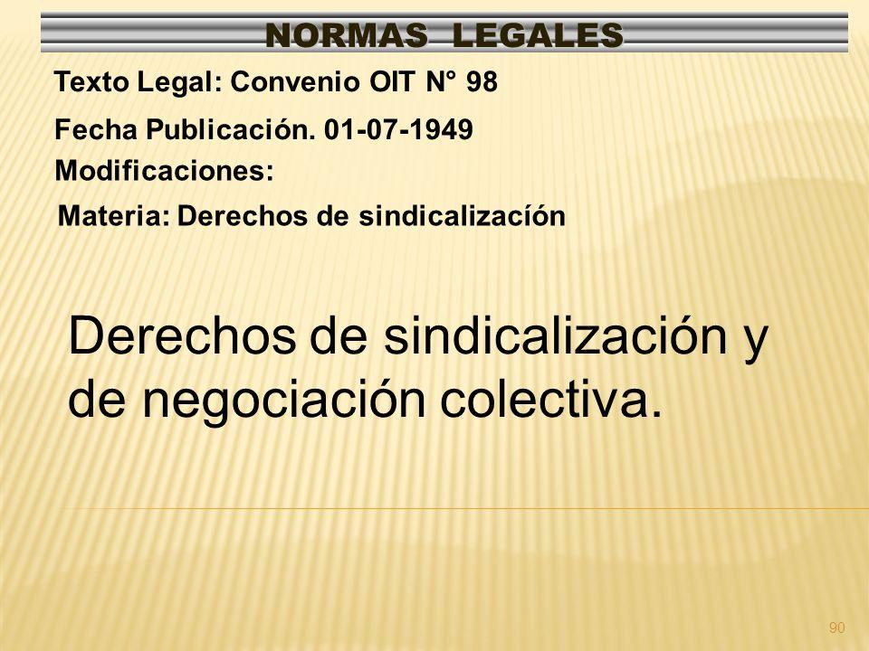 Derechos de sindicalización y de negociación colectiva.