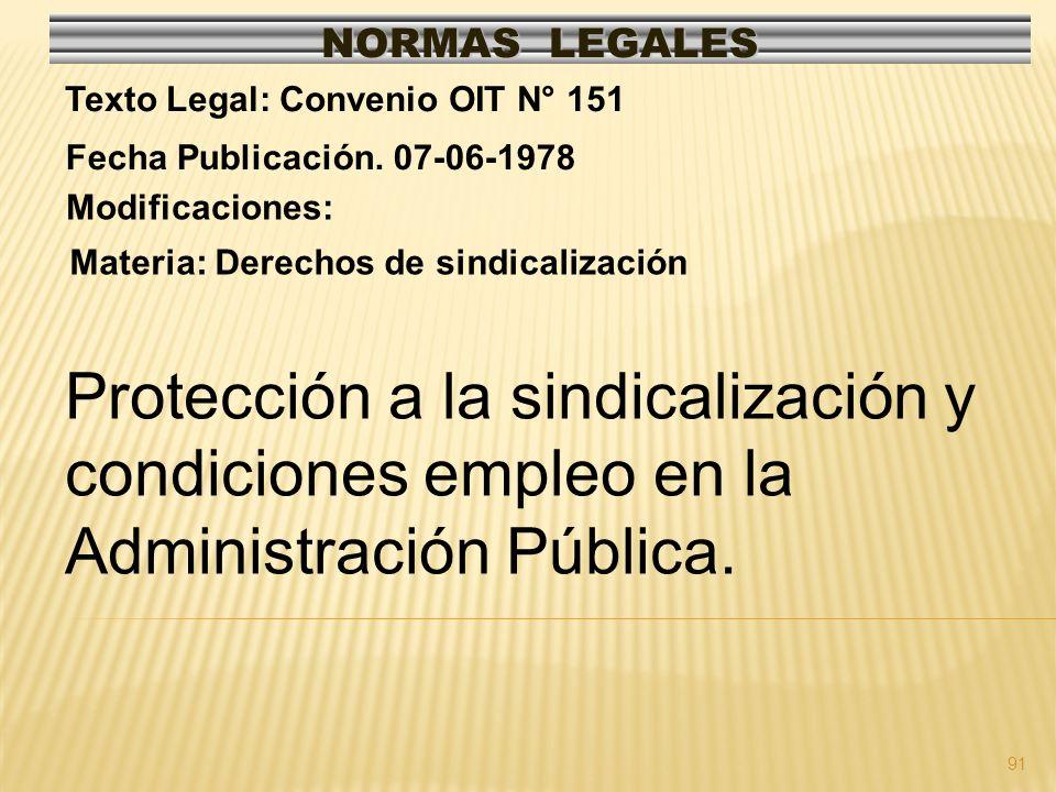 NORMAS LEGALES Texto Legal: Convenio OIT N° 151. Fecha Publicación. 07-06-1978. Modificaciones: Materia: Derechos de sindicalización.