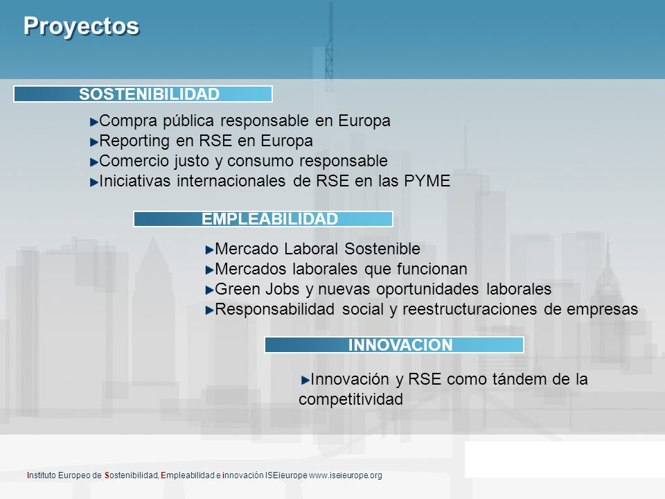 Proyectos SOSTENIBILIDAD Compra pública responsable en Europa