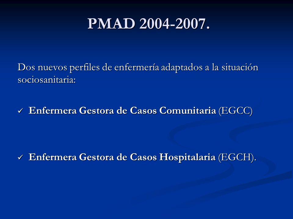 PMAD 2004-2007.Dos nuevos perfiles de enfermería adaptados a la situación sociosanitaria: Enfermera Gestora de Casos Comunitaria (EGCC)