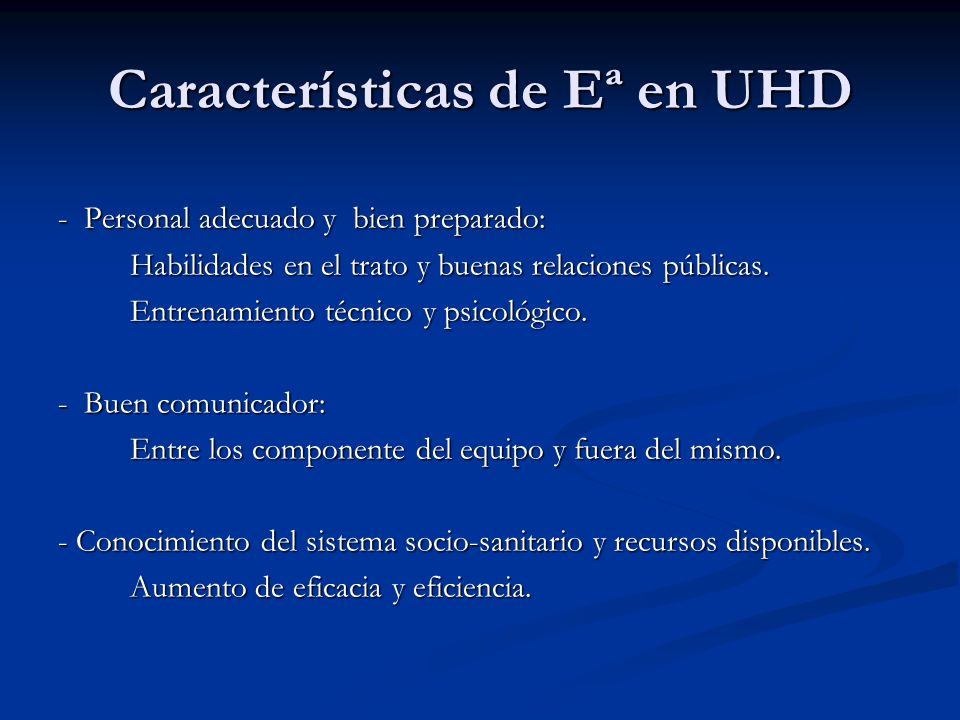 Características de Eª en UHD