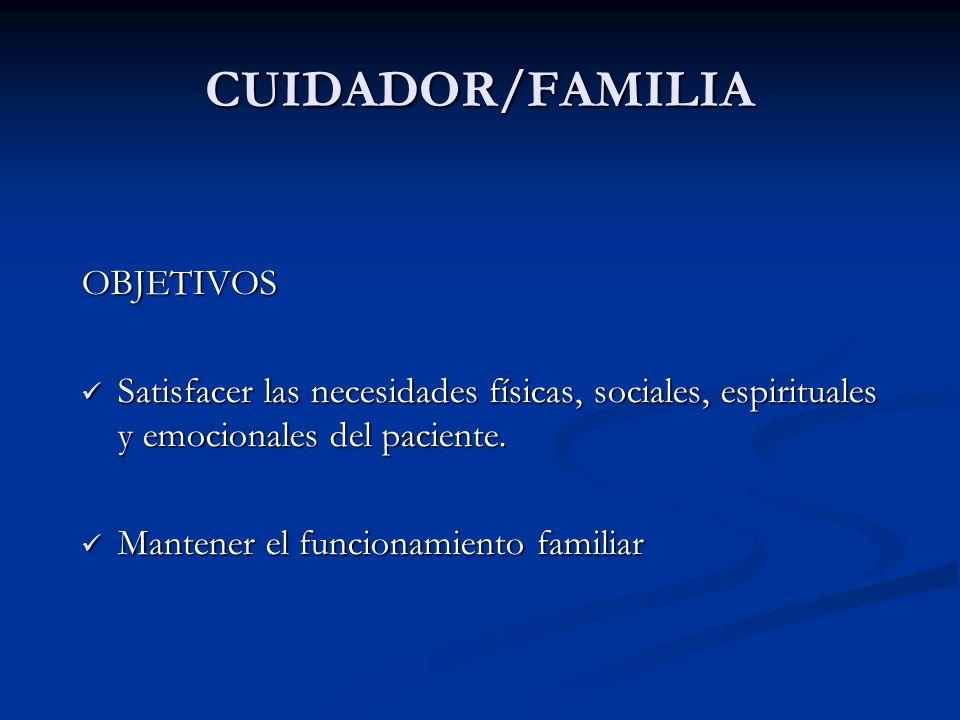 CUIDADOR/FAMILIA OBJETIVOS