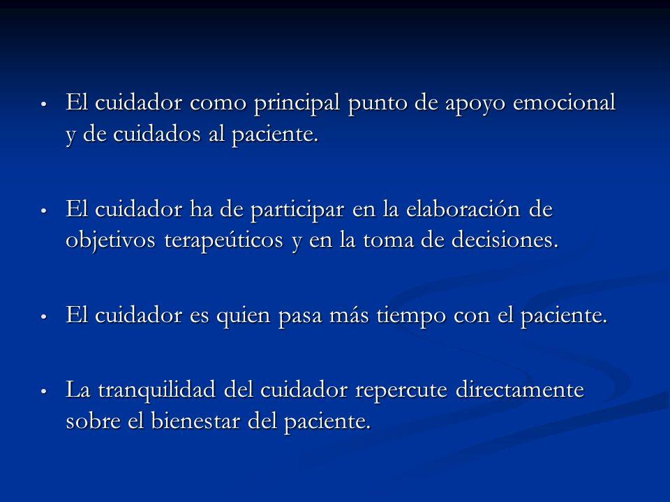 El cuidador como principal punto de apoyo emocional y de cuidados al paciente.