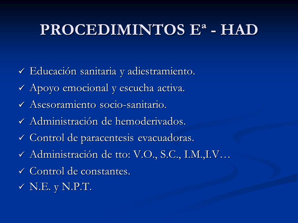 PROCEDIMINTOS Eª - HAD Educación sanitaria y adiestramiento.