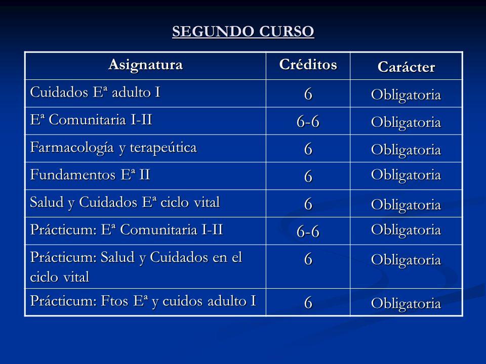6 6-6 SEGUNDO CURSO Asignatura Créditos Carácter Cuidados Eª adulto I