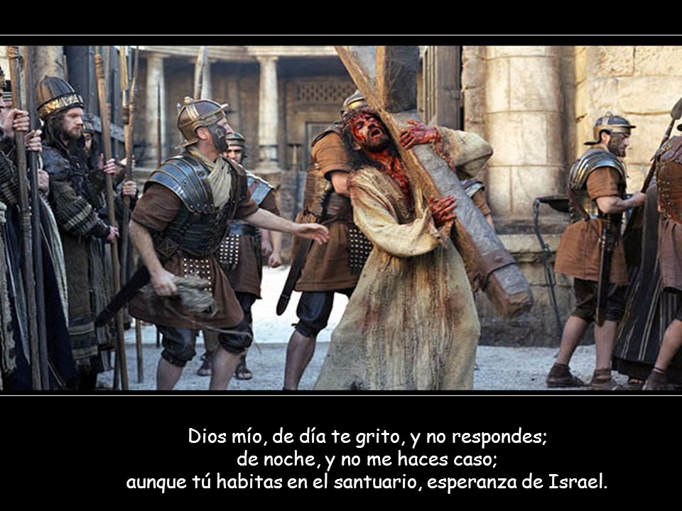Dios mío, de día te grito, y no respondes; de noche, y no me haces caso; aunque tú habitas en el santuario, esperanza de Israel.