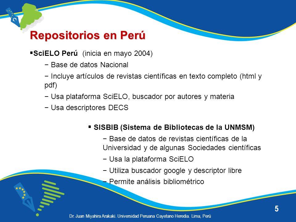 Repositorios en Perú SciELO Perú (inicia en mayo 2004)