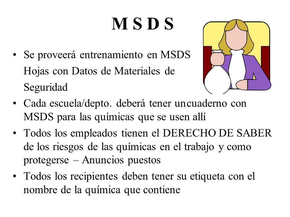M S D S Se proveerá entrenamiento en MSDS