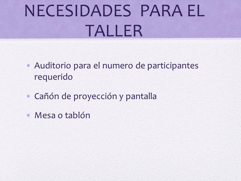 NECESIDADES PARA EL TALLER