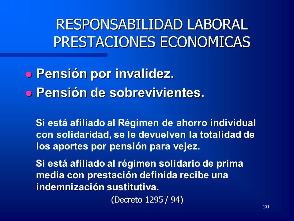 RESPONSABILIDAD LABORAL PRESTACIONES ECONOMICAS