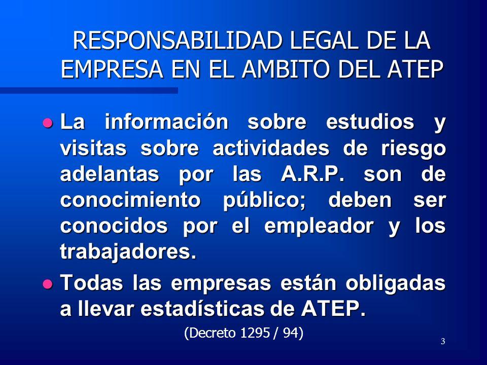 RESPONSABILIDAD LEGAL DE LA EMPRESA EN EL AMBITO DEL ATEP