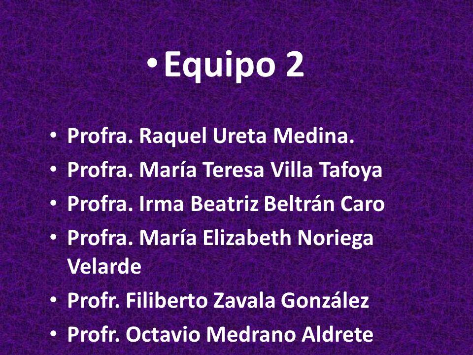 Equipo 2 Profra. Raquel Ureta Medina.