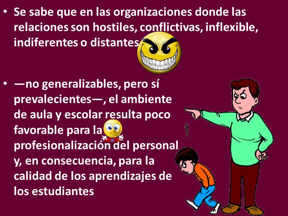 Se sabe que en las organizaciones donde las relaciones son hostiles, conflictivas, inflexible, indiferentes o distantes
