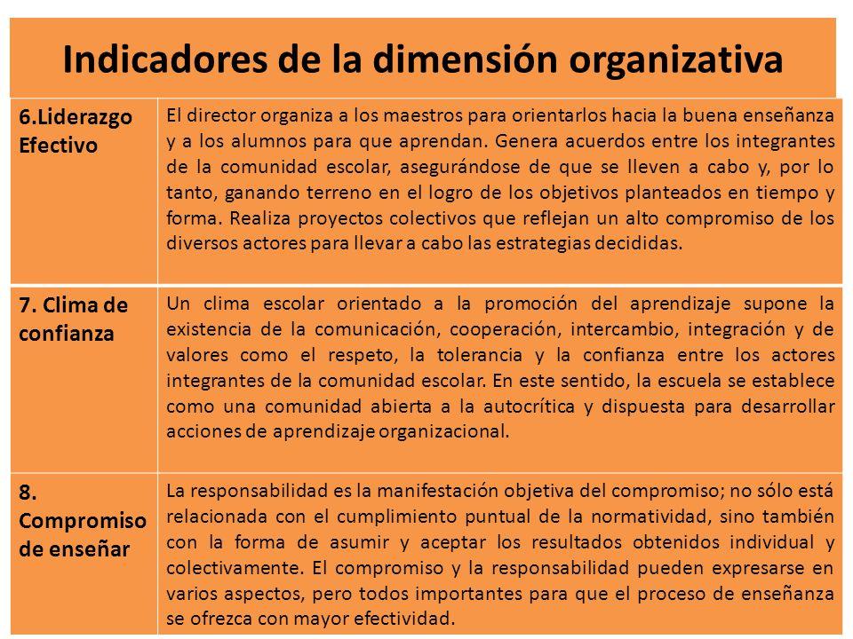 Indicadores de la dimensión organizativa