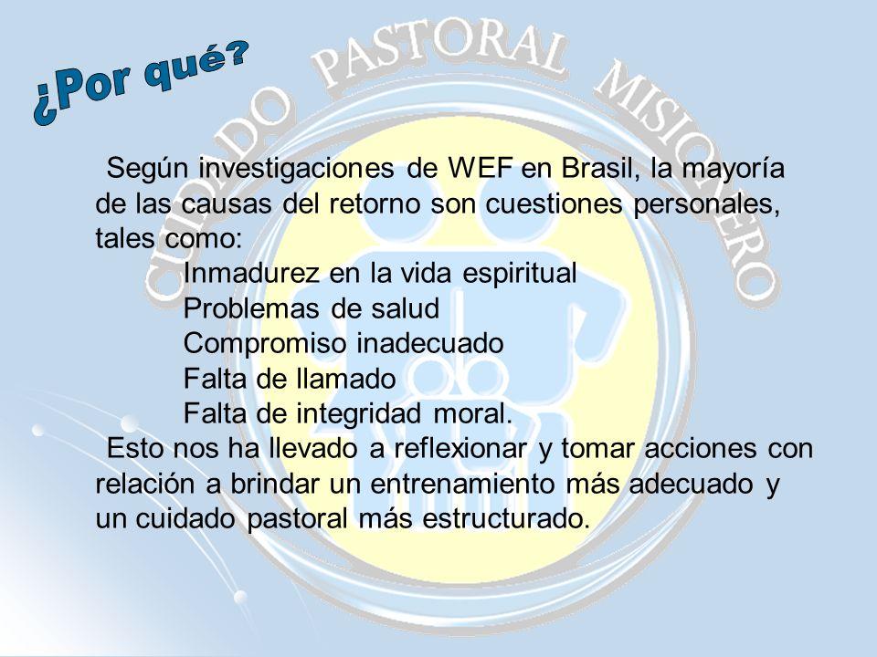 ¿Por qué Según investigaciones de WEF en Brasil, la mayoría de las causas del retorno son cuestiones personales, tales como: