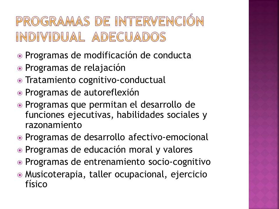 Programas de intervención individual adecuados
