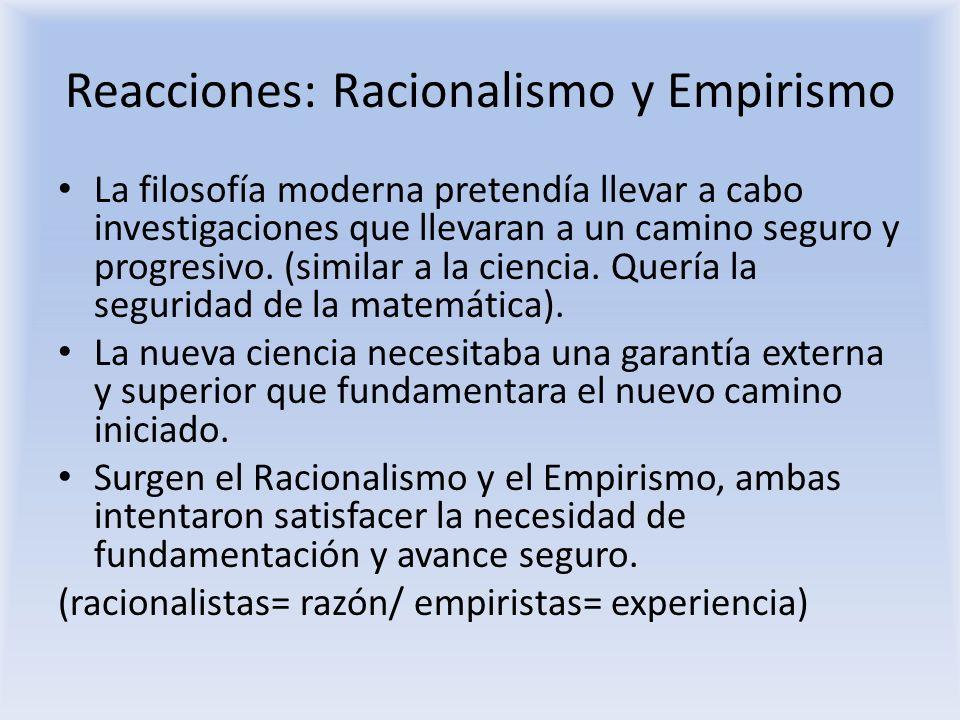 Reacciones: Racionalismo y Empirismo