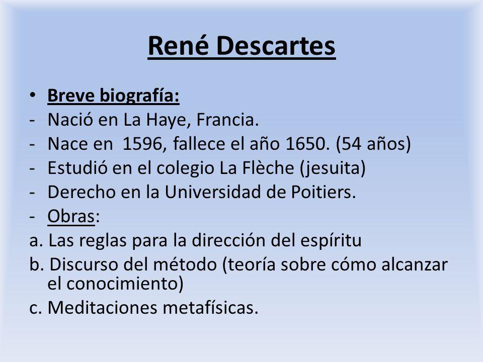 René Descartes Breve biografía: Nació en La Haye, Francia.