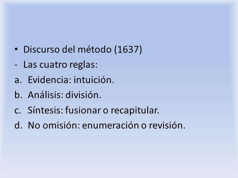 Discurso del método (1637) Las cuatro reglas: Evidencia: intuición. Análisis: división. Síntesis: fusionar o recapitular.