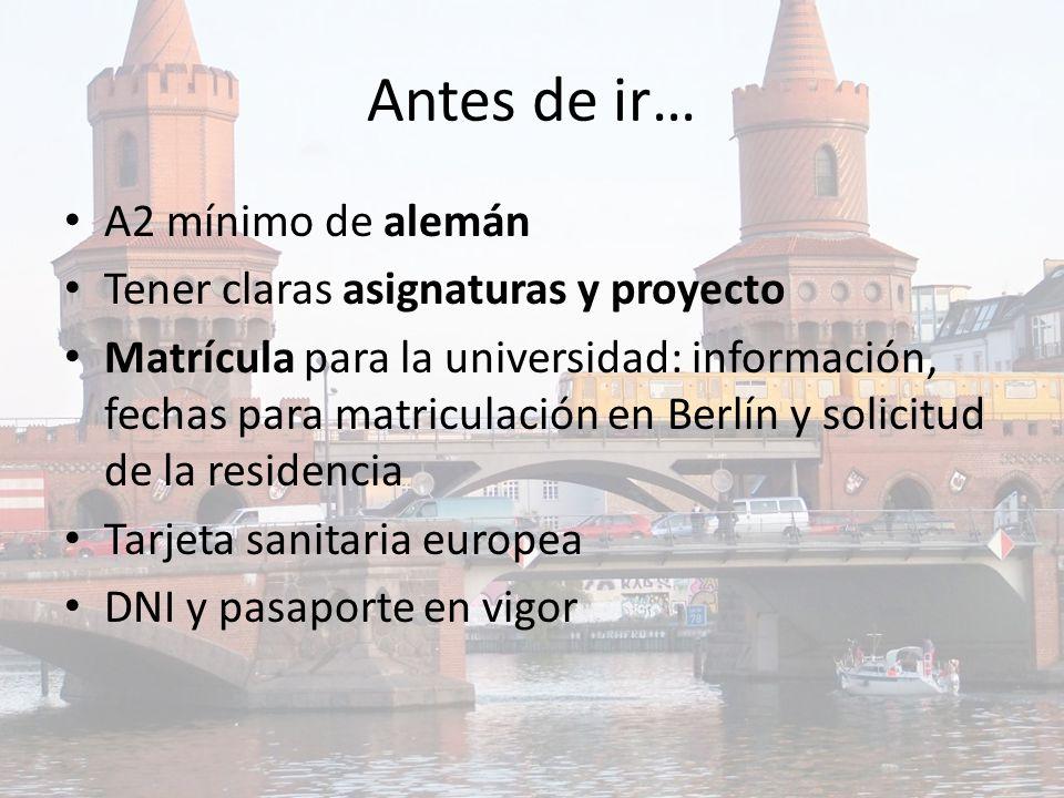 Antes de ir… A2 mínimo de alemán Tener claras asignaturas y proyecto