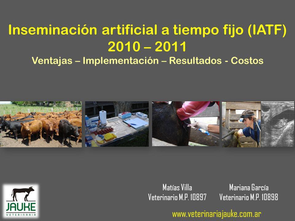 Inseminación artificial a tiempo fijo (IATF) 2010 – 2011 Ventajas – Implementación – Resultados - Costos
