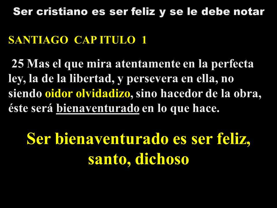 Ser bienaventurado es ser feliz, santo, dichoso