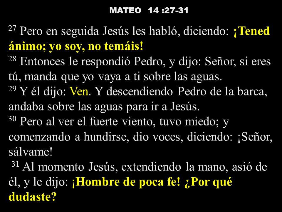 MATEO 14 :27-31 27 Pero en seguida Jesús les habló, diciendo: ¡Tened ánimo; yo soy, no temáis!