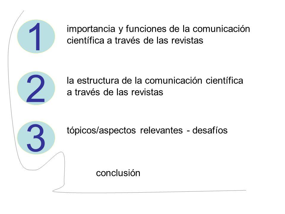1 importancia y funciones de la comunicación científica a través de las revistas. 2.