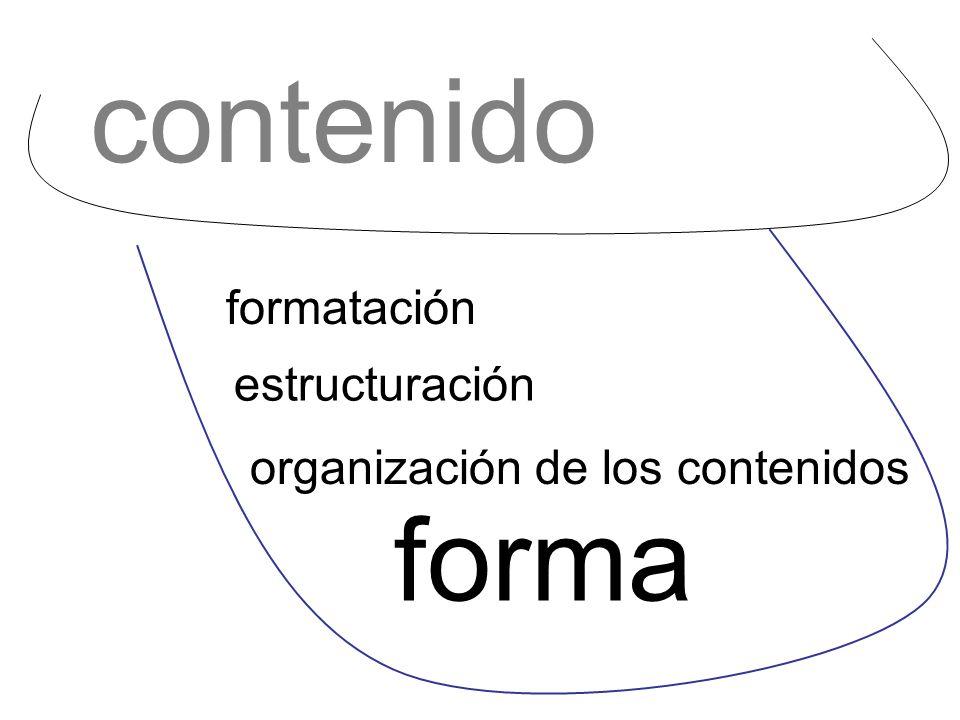 contenido forma formatación estructuración