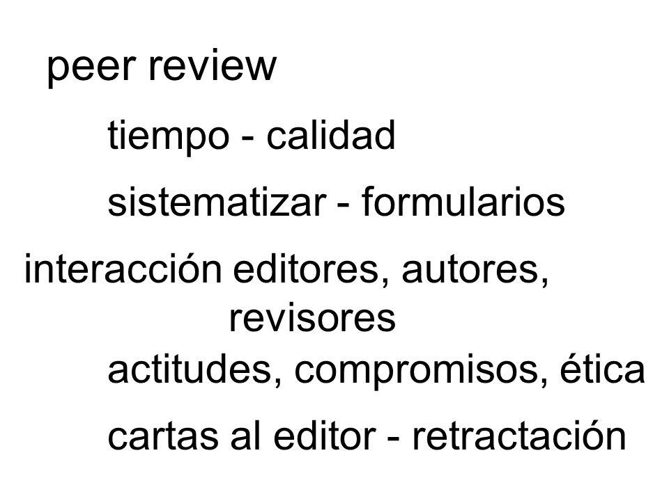 peer review tiempo - calidad sistematizar - formularios