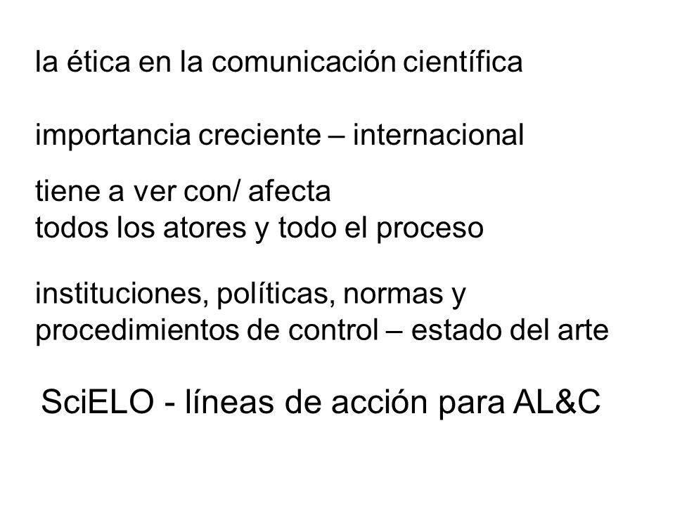 SciELO - líneas de acción para AL&C