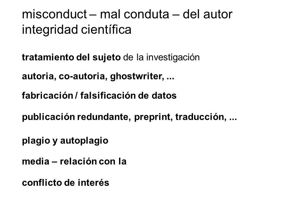 misconduct – mal conduta – del autor integridad científica