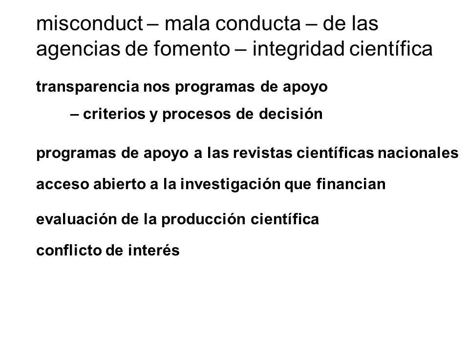 misconduct – mala conducta – de las agencias de fomento – integridad científica