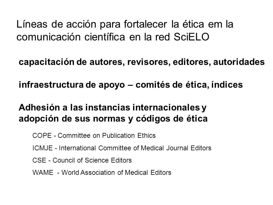 Líneas de acción para fortalecer la ética em la comunicación científica en la red SciELO
