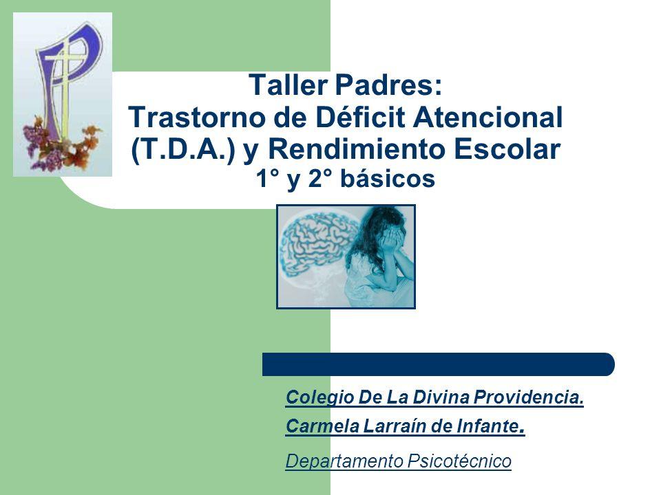 Taller Padres: Trastorno de Déficit Atencional (T. D. A