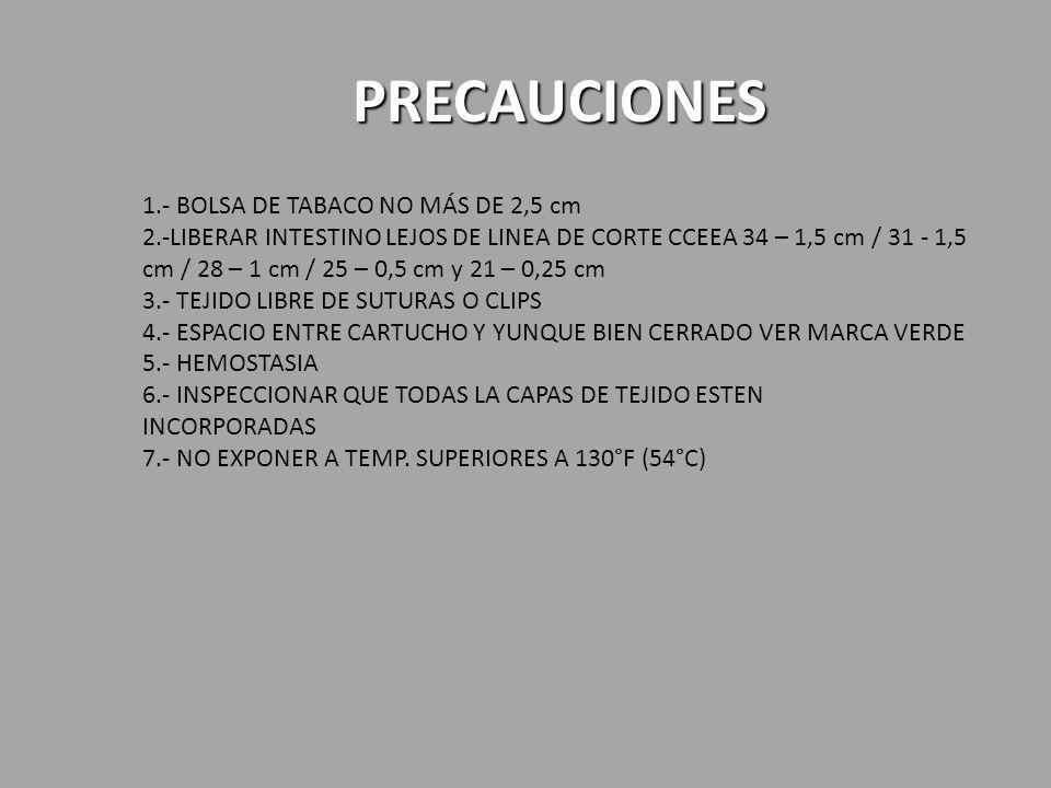 PRECAUCIONES 1.- BOLSA DE TABACO NO MÁS DE 2,5 cm