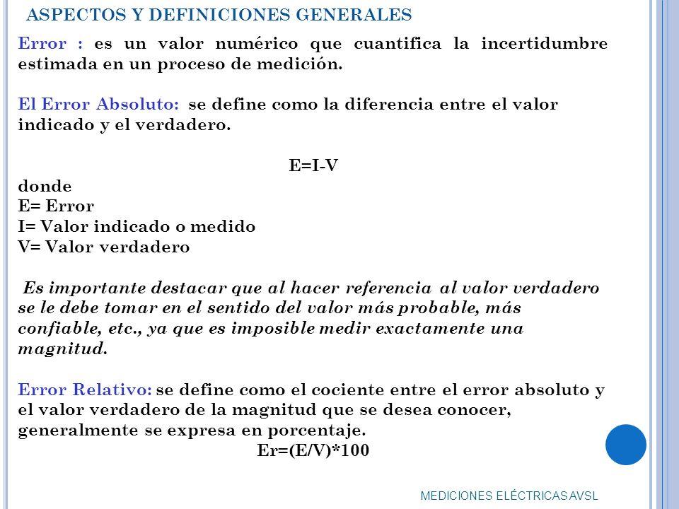 I= Valor indicado o medido V= Valor verdadero