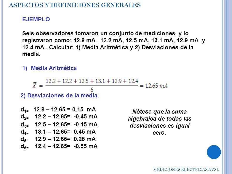 Nótese que la suma algebraica de todas las desviaciones es igual cero.