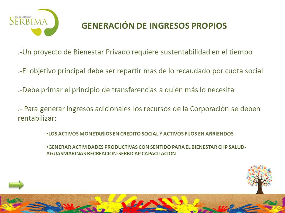 GENERACIÓN DE INGRESOS PROPIOS