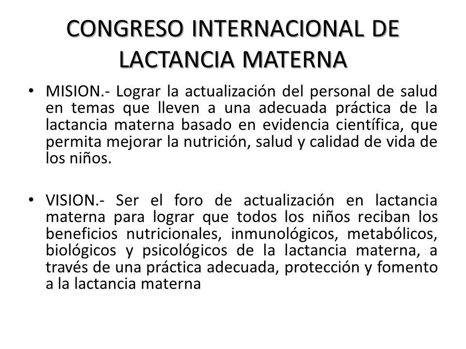 CONGRESO INTERNACIONAL DE LACTANCIA MATERNA