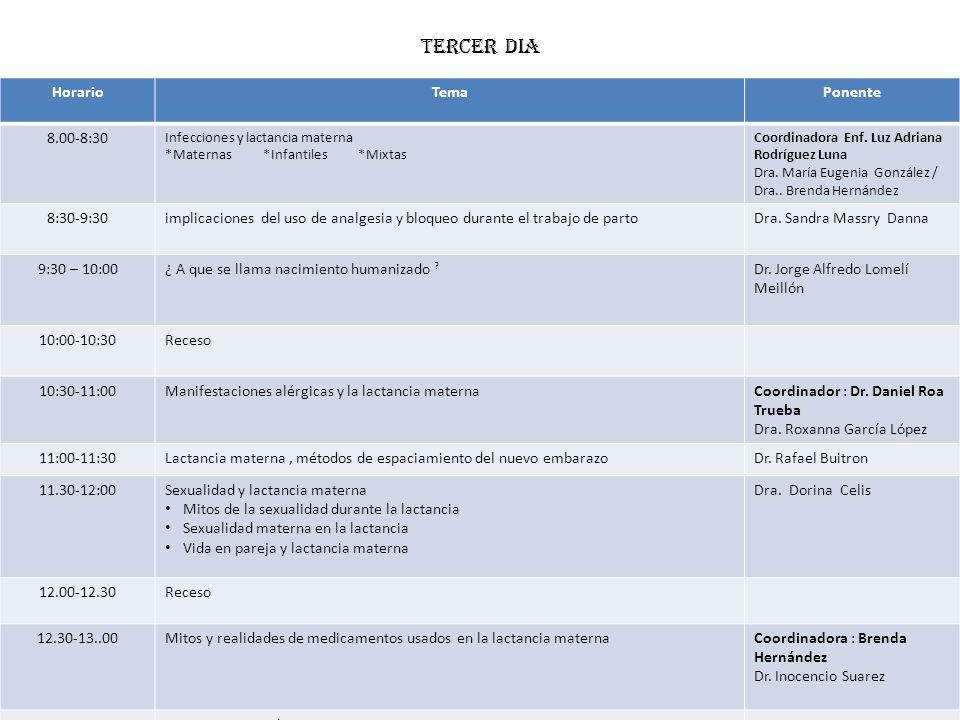 TERCER DIA Horario Tema Ponente 8.00-8:30 8:30-9:30