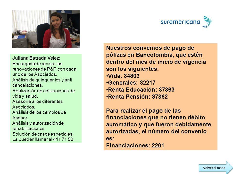 Nuestros convenios de pago de pólizas en Bancolombia, que estén dentro del mes de inicio de vigencia son los siguientes: