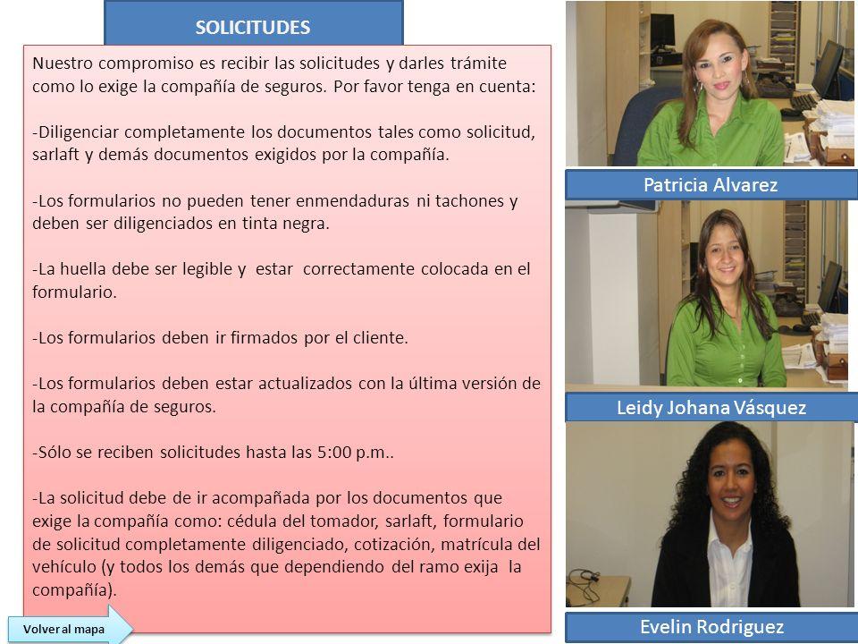 SOLICITUDES Patricia Alvarez Leidy Johana Vásquez Evelin Rodriguez