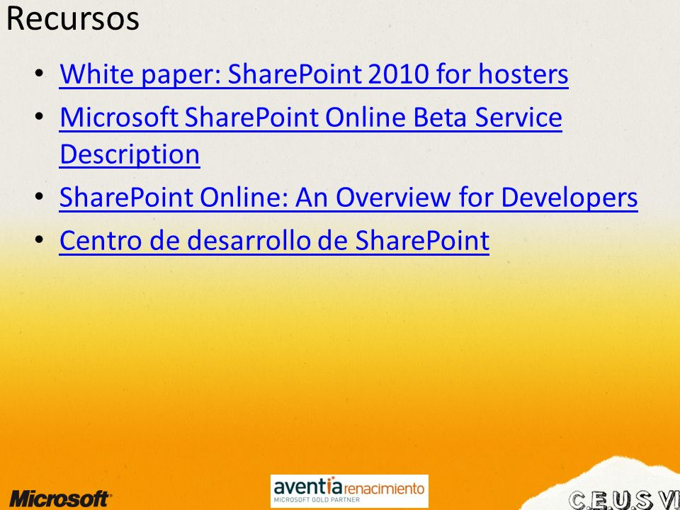 Recursos White paper: SharePoint 2010 for hosters