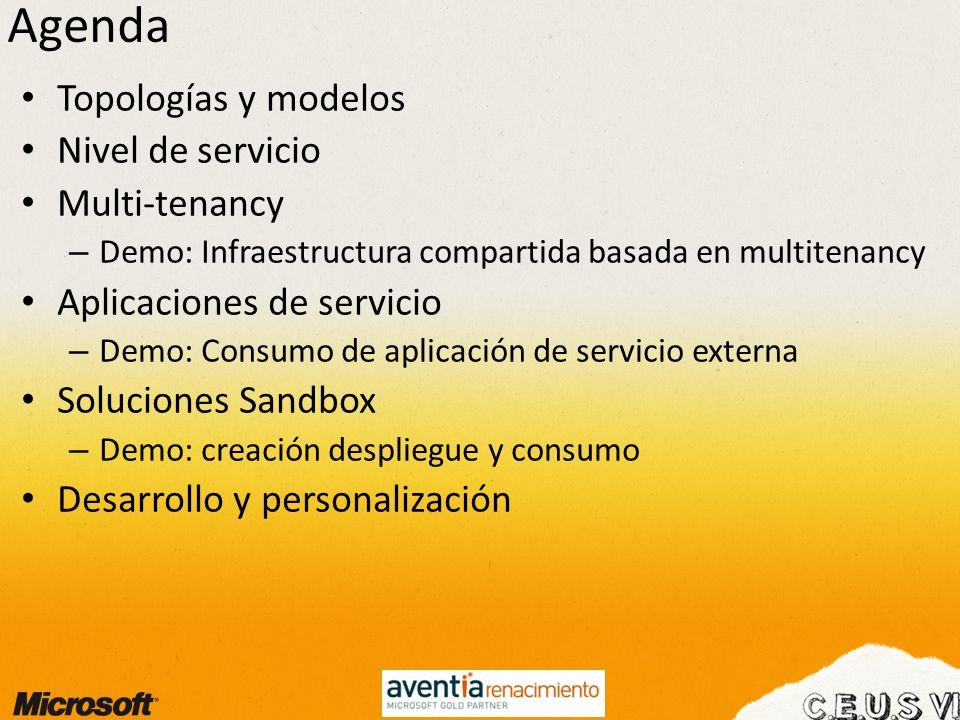 Agenda Topologías y modelos Nivel de servicio Multi-tenancy
