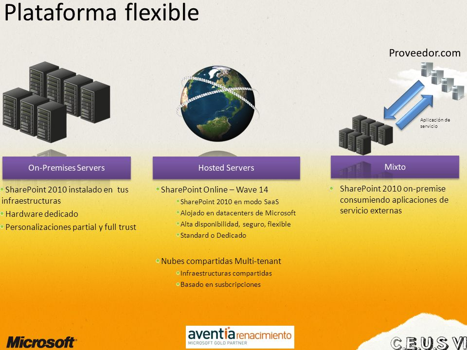 Plataforma flexible Proveedor.com On-Premises Servers Hosted Servers