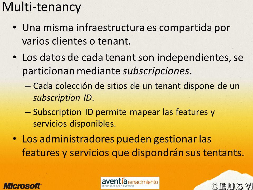 Multi-tenancy Una misma infraestructura es compartida por varios clientes o tenant.