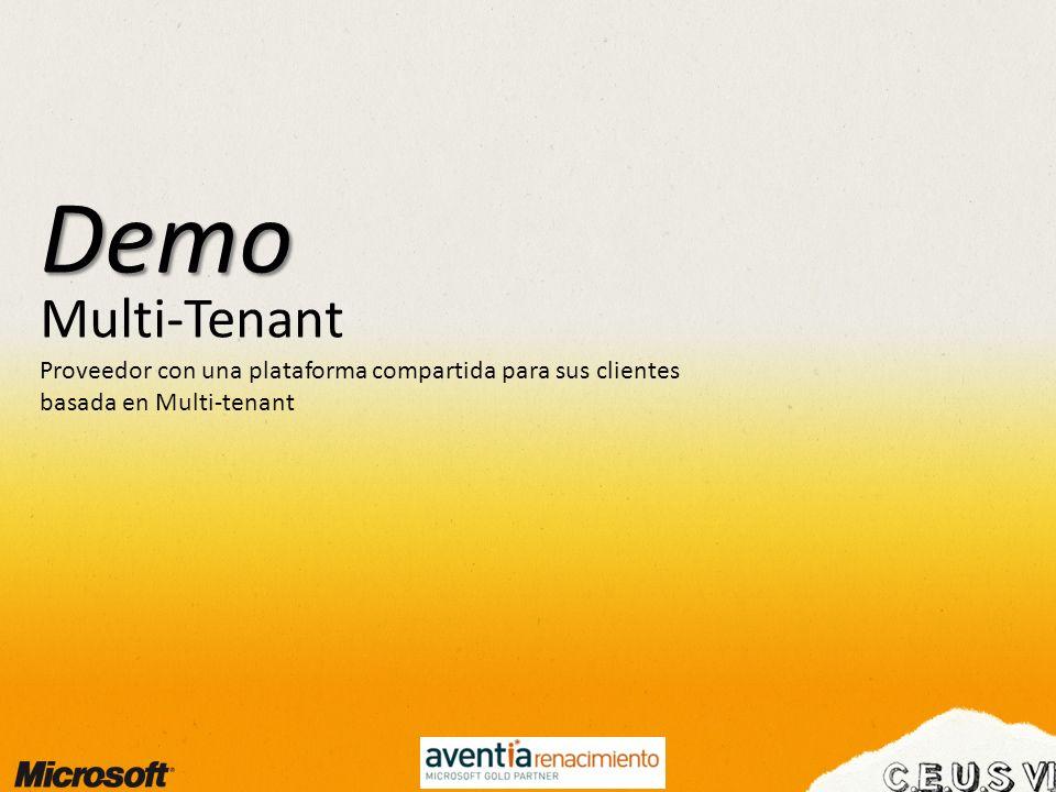 Demo Multi-Tenant Proveedor con una plataforma compartida para sus clientes basada en Multi-tenant