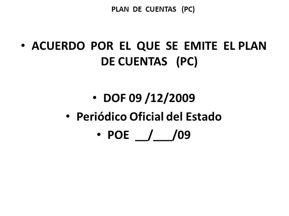 ACUERDO POR EL QUE SE EMITE EL PLAN DE CUENTAS (PC)