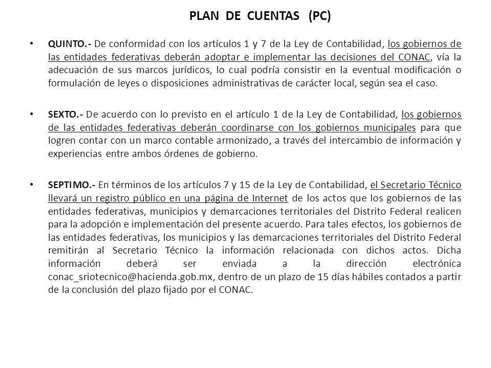 PLAN DE CUENTAS (PC)